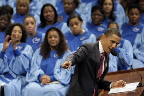 Barack Obama in Chicago pulpit, Father's Day, June 2008