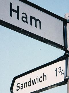 Sign - Ham - Sandwich intersection, Kent, Eng.