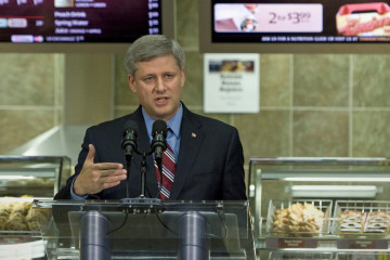 Stephen Harper at Tim Horton's