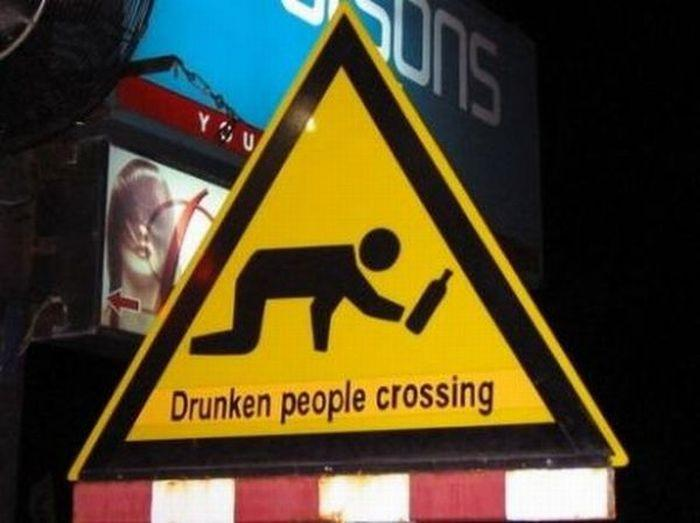 Signs - drunken people crossing