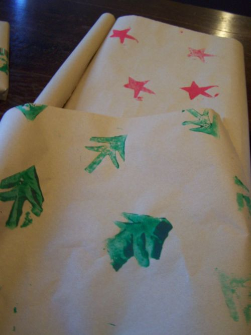 Potato-print wrapping paper