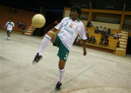 Evo Morales, football match v. foreign media, Chapare coca region, Dec. 5 09 Reuters