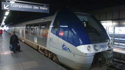 French regional train built by Bombardier at Rouen stn n. France, Boris Maslard, Reuters