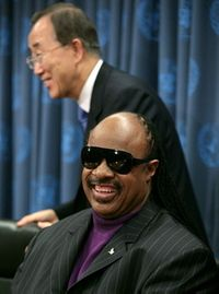 Stevie Wonder and Ban Ki-moon, UN Messenger of Peace, Bebeto Matthews, AP
