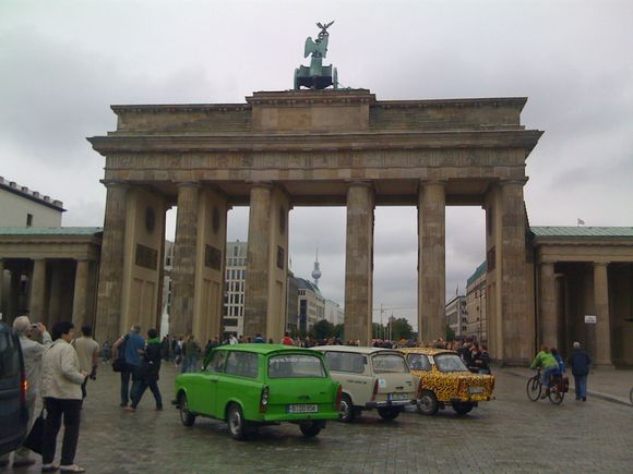 Trabants at Berlin's Brandenburg Gate