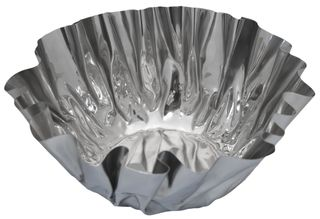 Steel crumpled round deep bowl med
