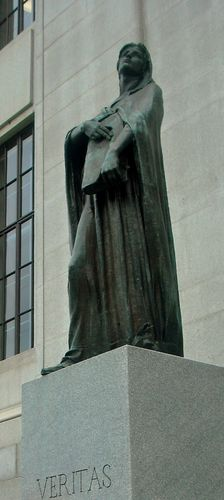 "The statue representing truth (""veritas"") outside of the Supreme Court of Canada."