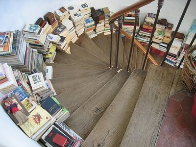 Books on stairs domino
