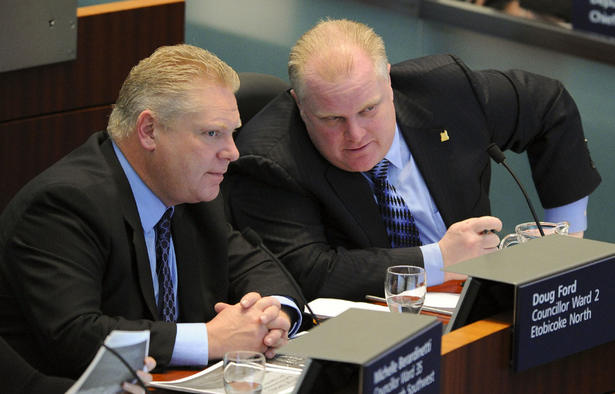 Toronto mayors Doug and Rob Ford Toronto Star