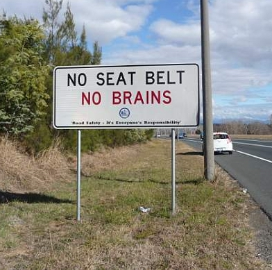 Aussie seat belt sign