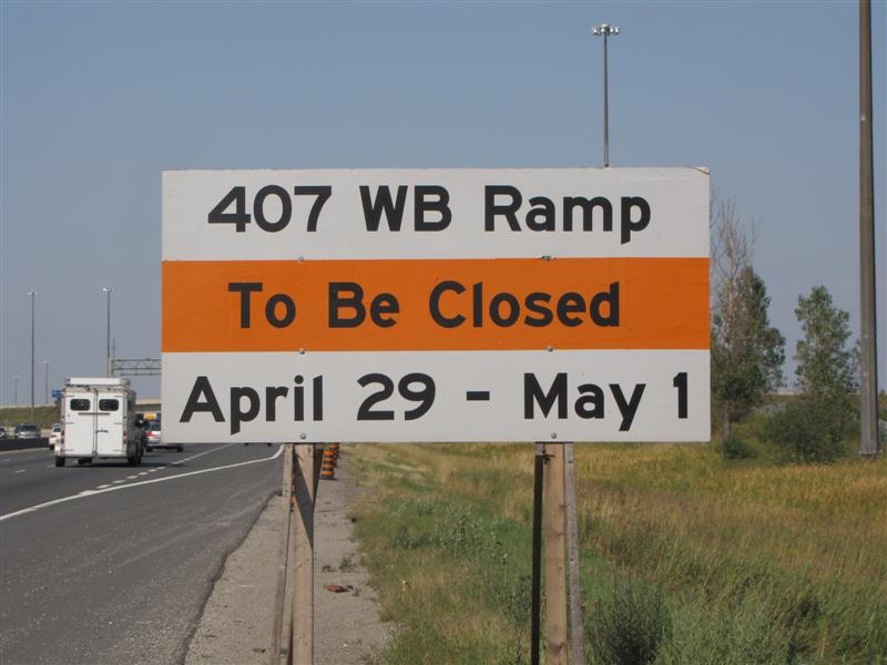 Ramp closed sign