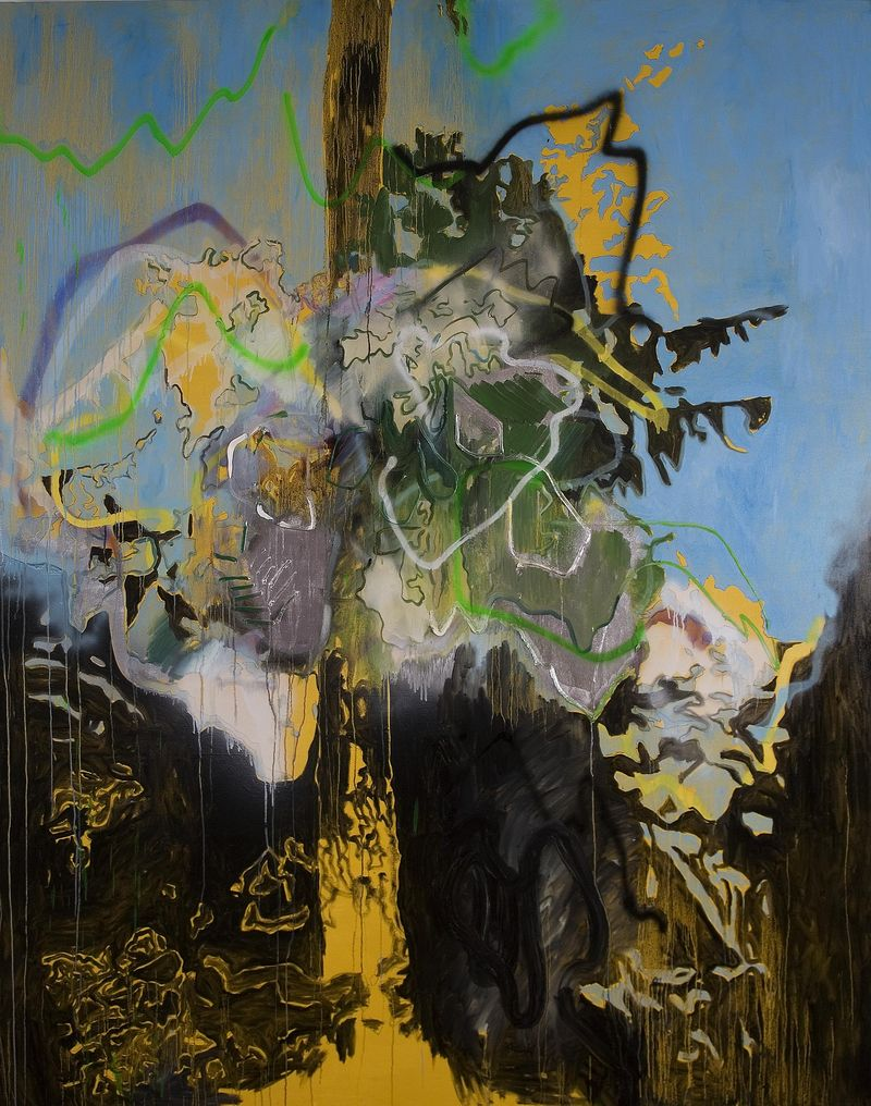 THRUSH HOLMES' PLUTONIUM ODE OIL AND SPRAY PAINT ON CANVAS, 120 X 96 INCHES, 2011