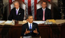 Obama and his deep purple tie addressing Congress Thursday