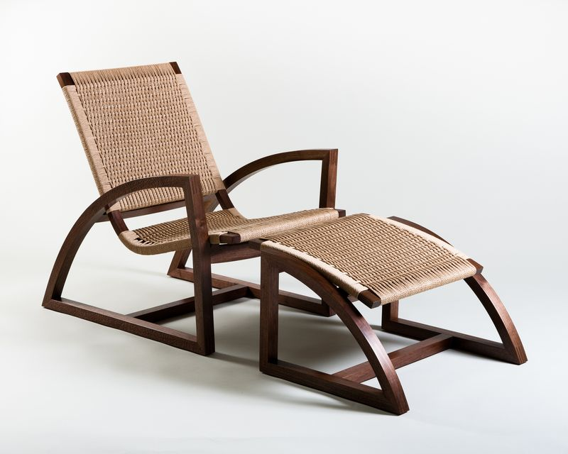Lounge Chair in steam-bent walnut and danish cord Christopher Solar Studio