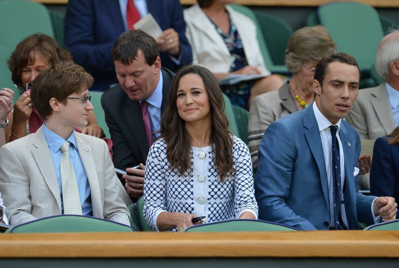 Pippa Middleton (C) sister of Britain's Catherine Duchess of Cambridge, and her brother James