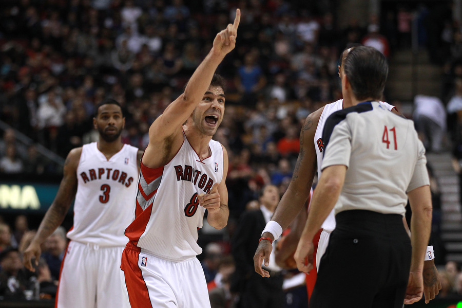 huge selection of c7e20 27bf7 Toronto Raptors point guard Jose Calderon tells the referee that their  still should be time on the clock, 0.3 seconds were added to the first half  action as ...
