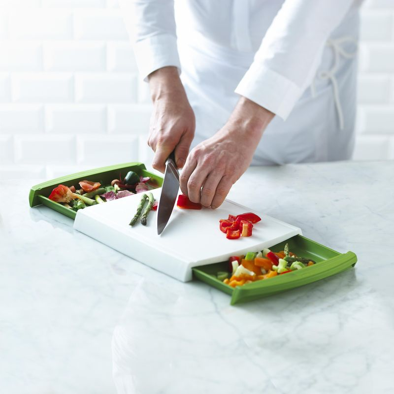 Trudeau's new cutting board has convenient drawers