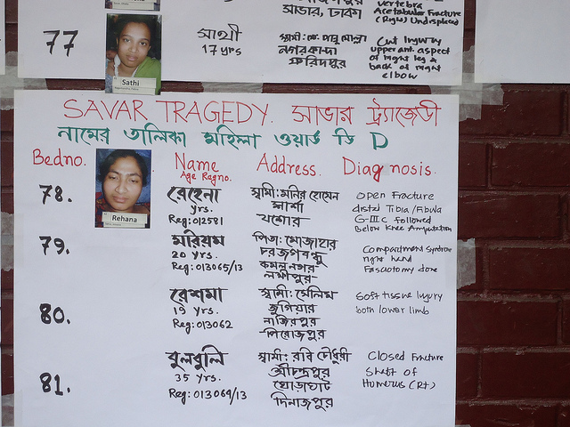 Bangladesh factory casualty list