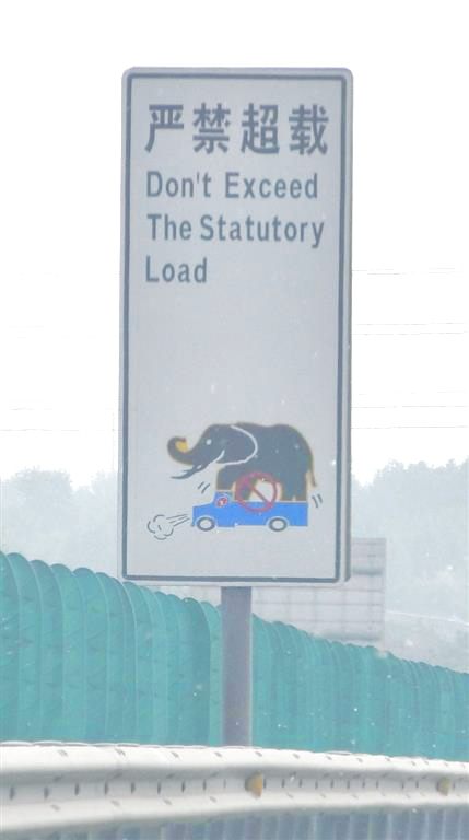 China road sign ov